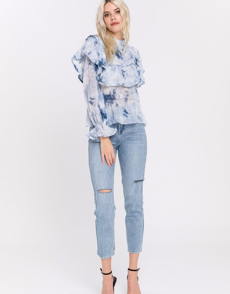 Endless Rose Tie Dye Ruffle Top