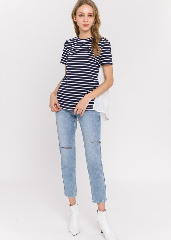 English Factory Striped Combo Top