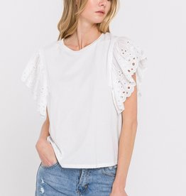 Free The Roses Lace Ruffle Sleeve Top