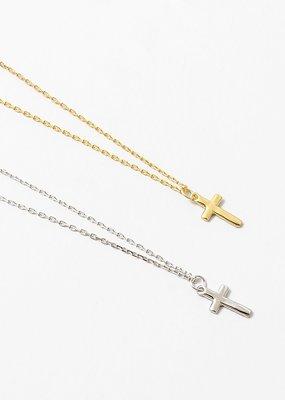 Buffalo Trading Co. Plain Cross Necklace Gold