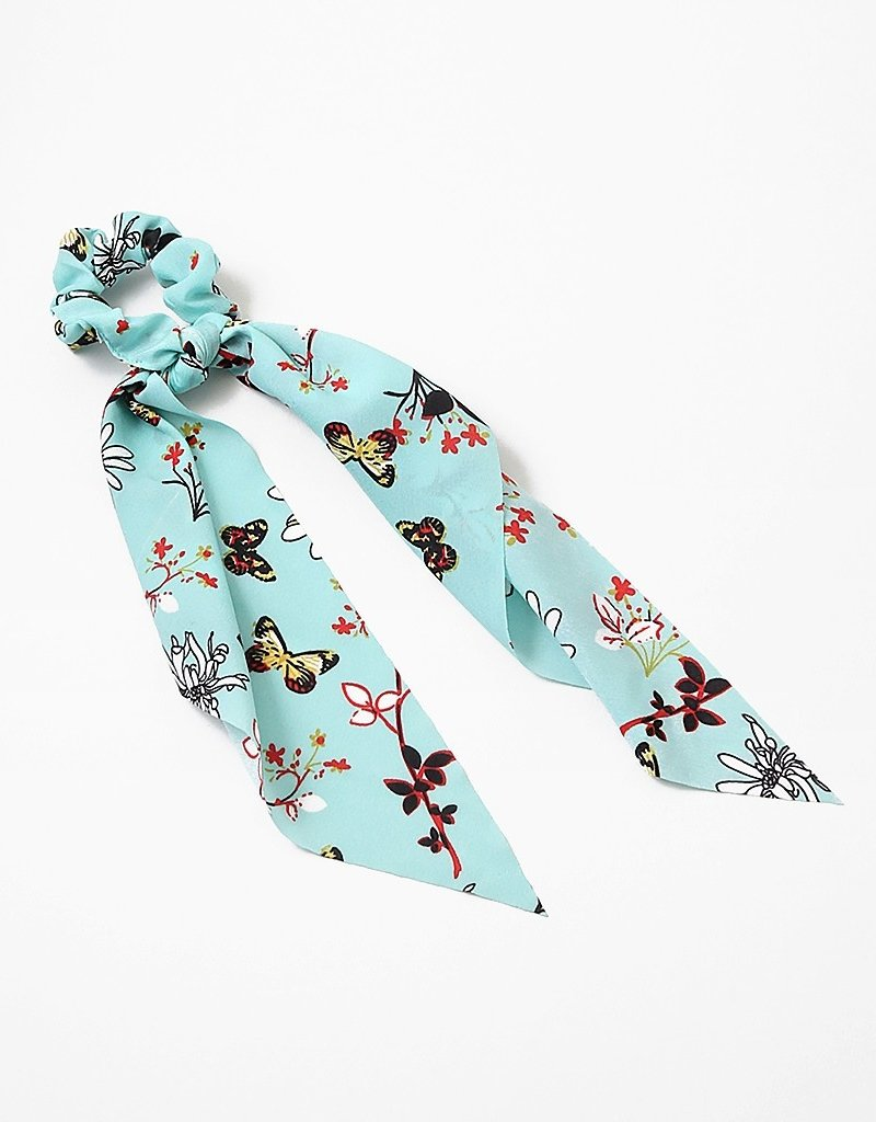 Buffalo Trading Co. Scrunchie Ribbon Turquoise Butterfly