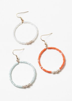 Buffalo Trading Co. Beaded Hoops With Pearl