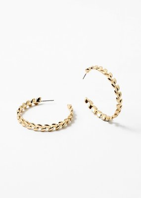 Buffalo Trading Co. Leaf Hoops Gold