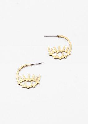 Buffalo Trading Co. Evil Eye Mini Hoops Gold