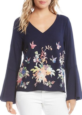 Karen Kane Embroidered Flare Sleeve Top