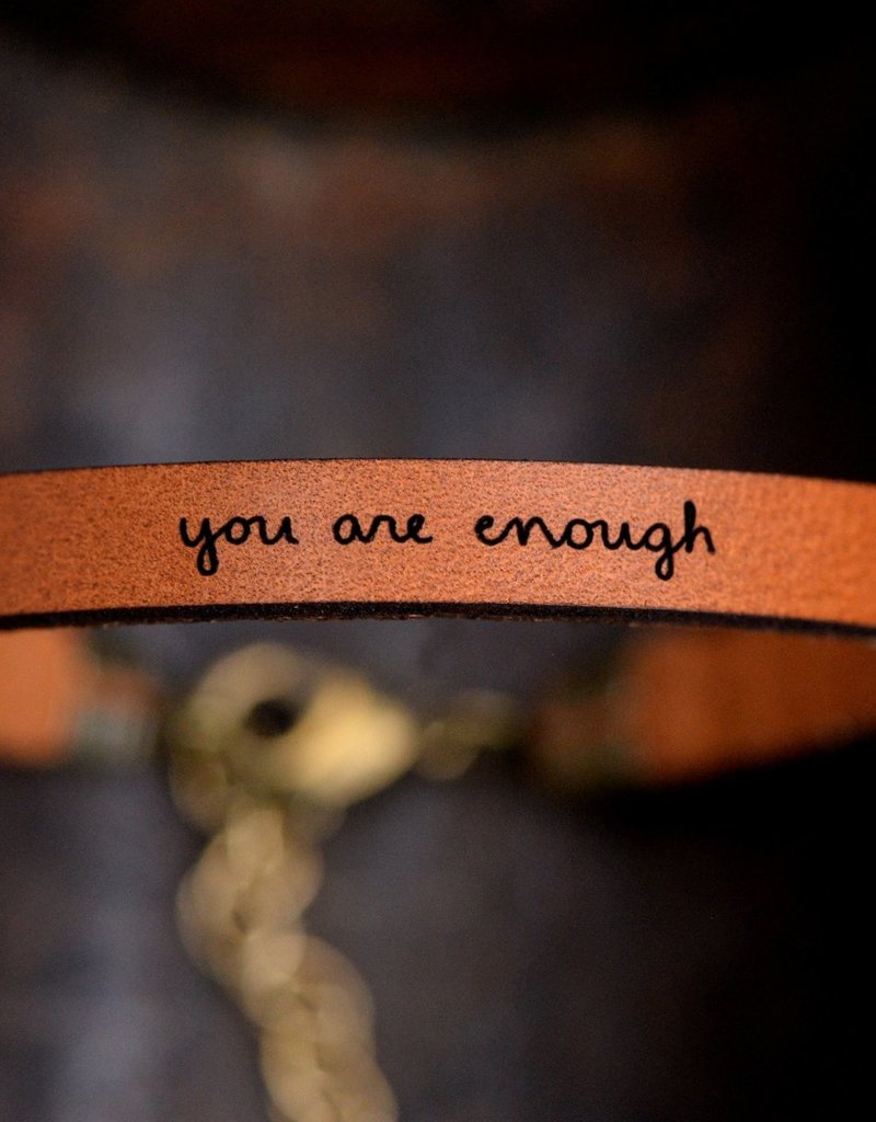 Laurel Denise You are Enough Brown Leather Bracelet - Standard