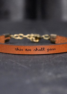 Laurel Denise This Too Shall Pass Brown Leather Bracelet - Standard