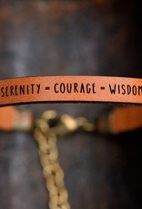Laurel Denise Serenity Courage Wisdom Brown Leather Bracelet - Standard