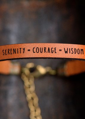 Laurel Denise Serenity Courage Wisdom Brown Leather Bracelet - Standard