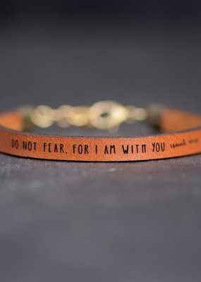 Laurel Denise Do Not Fear.. Brown Leather Bracelet - Standard