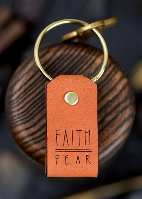 Laurel Denise Faith Over Fear Leather Keychain