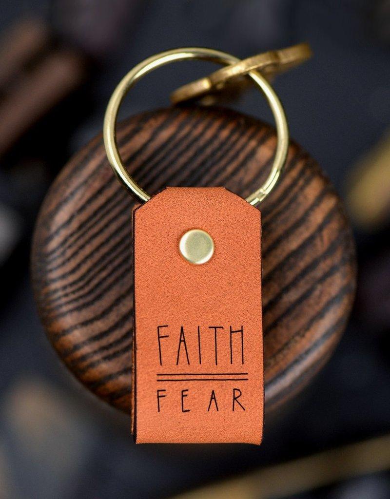 Laurel Denise Faith Over Fear Leather Keychain