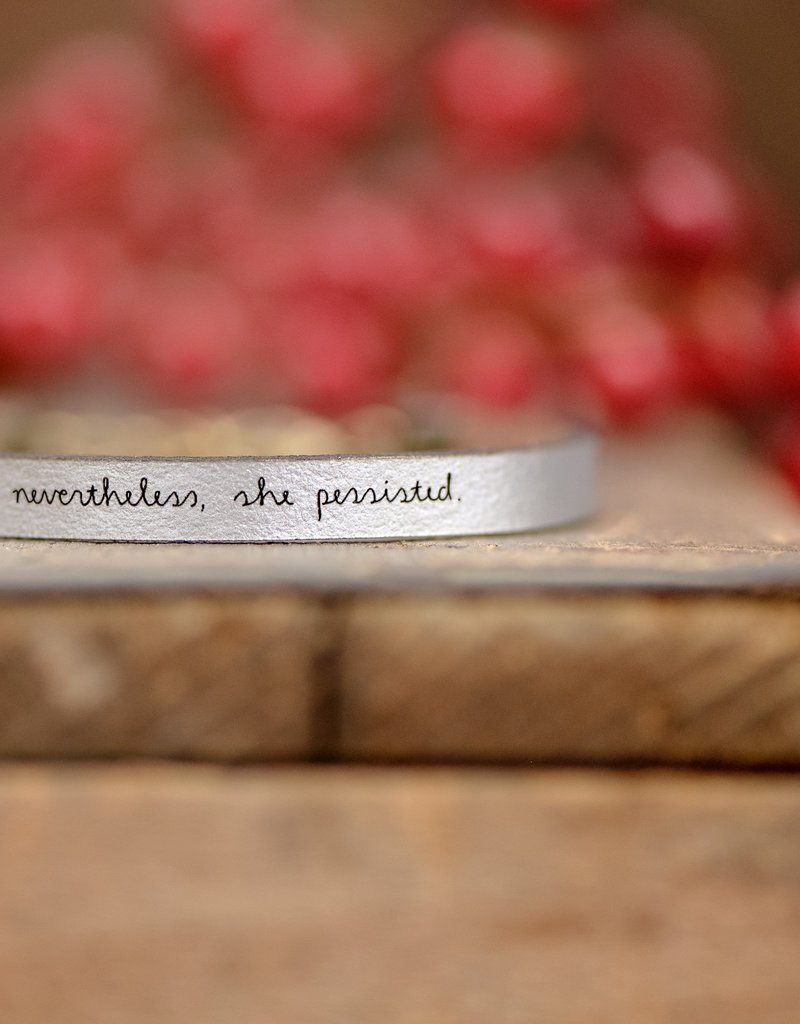 Laurel Denise Nevertheless, She Persisted Silver Leather Bracelet - Standard