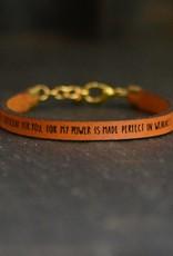Laurel Denise My Grace is Sufficient Brown Leather Bracelet - Standard
