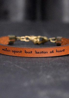 Laurel Denise Miles Apart Besties Brown Leather Bracelet -Child