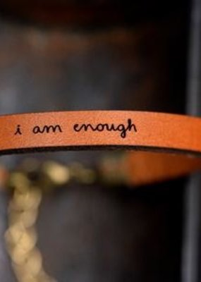 Laurel Denise I Am Enough Brown Leather Bracelet - Standard