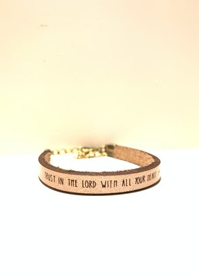 Laurel Denise Trust In The Lord Metallic Rose Gold Leather Bracelet -Child