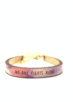 Laurel Denise No One Fights Alone Pink Pattern Leather Bracelet - Standard
