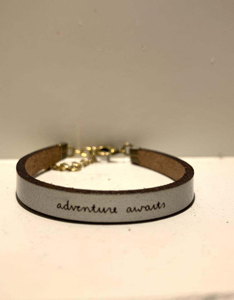 Laurel Denise Adventure Awaits Silver Leather Bracelet Standard
