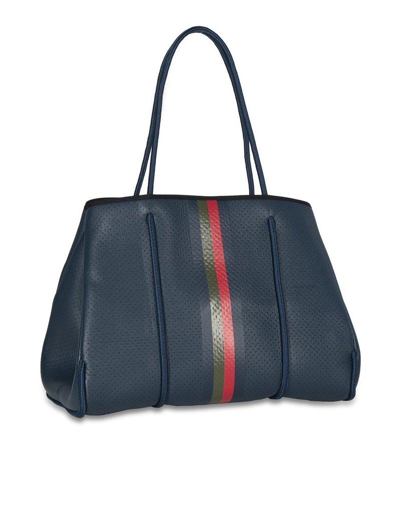 Haute Shore LTD. Greyson Cape Handbag Navy Coated/Navy Red Olive Stripe