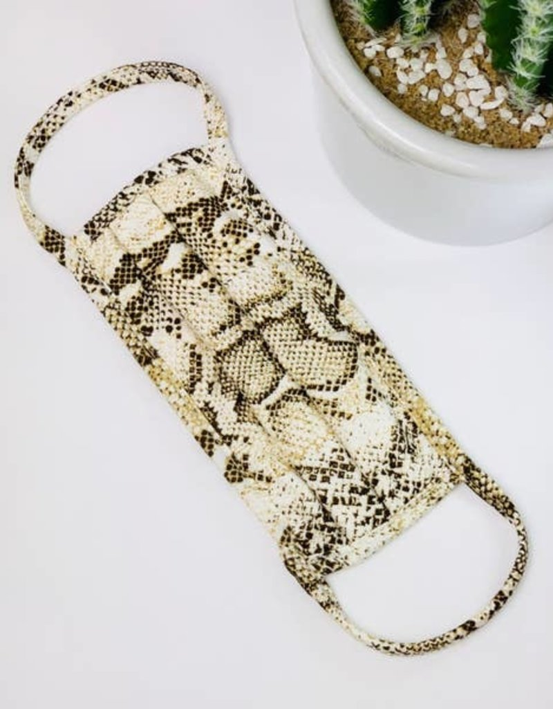 Fore Collection Snake Print Face Mask Camel/White