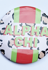 """Over the Moon Alpha Chi Omega Cheetah Button 3"""""""