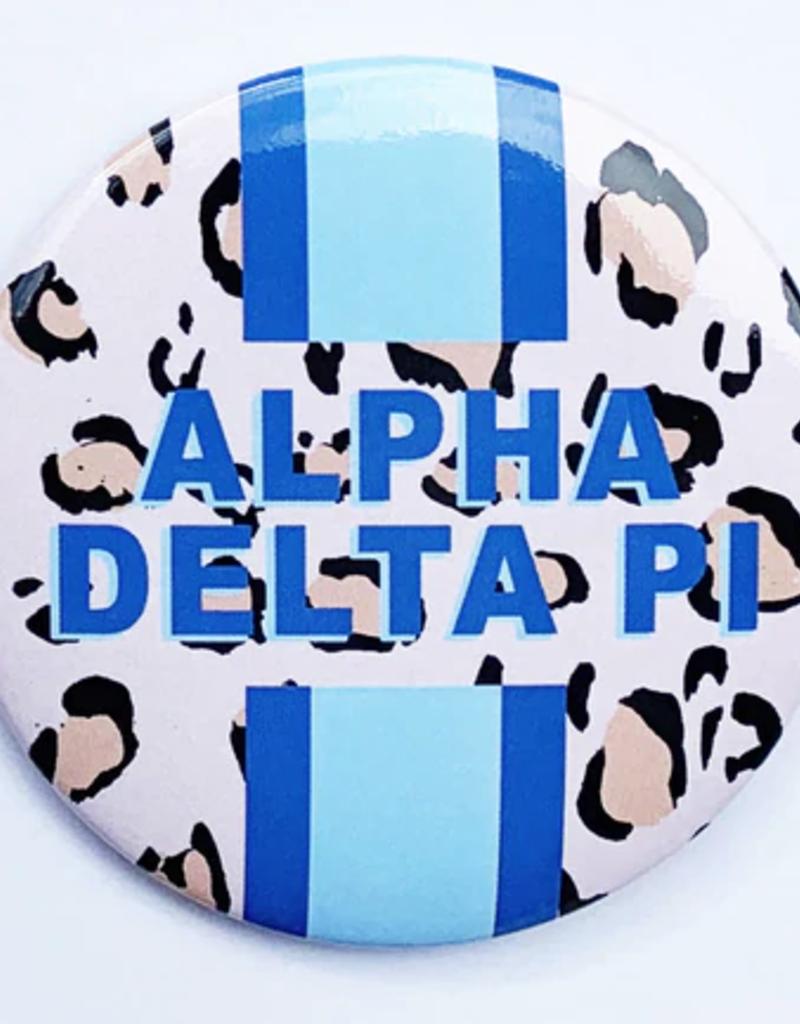 """Over the Moon Alpha Delta PI Cheetah Button 3 """""""