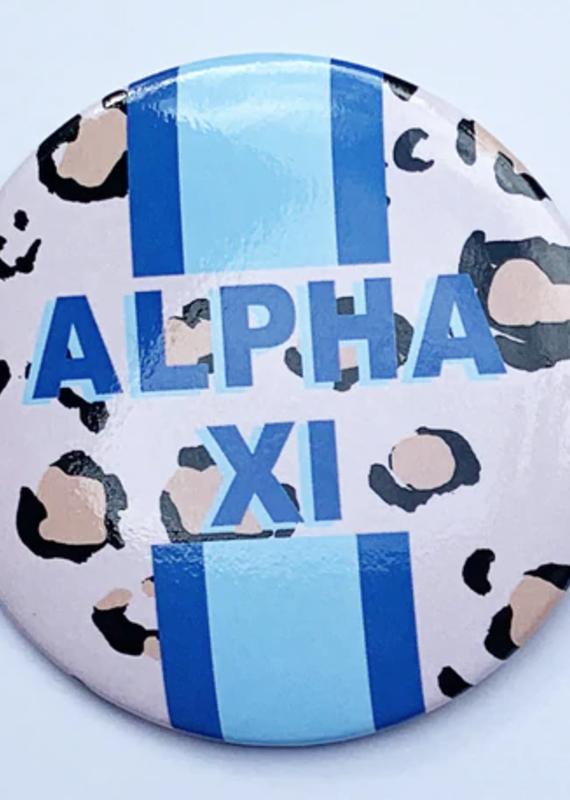 """Over the Moon Alpha Xi Delta Cheetah Button 3"""""""
