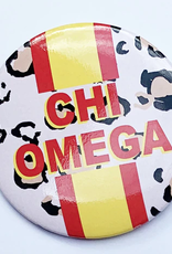 Over the Moon Chi Omega Cheetah Button 3""