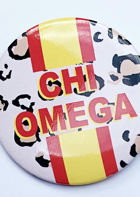 """Over the Moon Chi Omega Cheetah Button 3"""""""