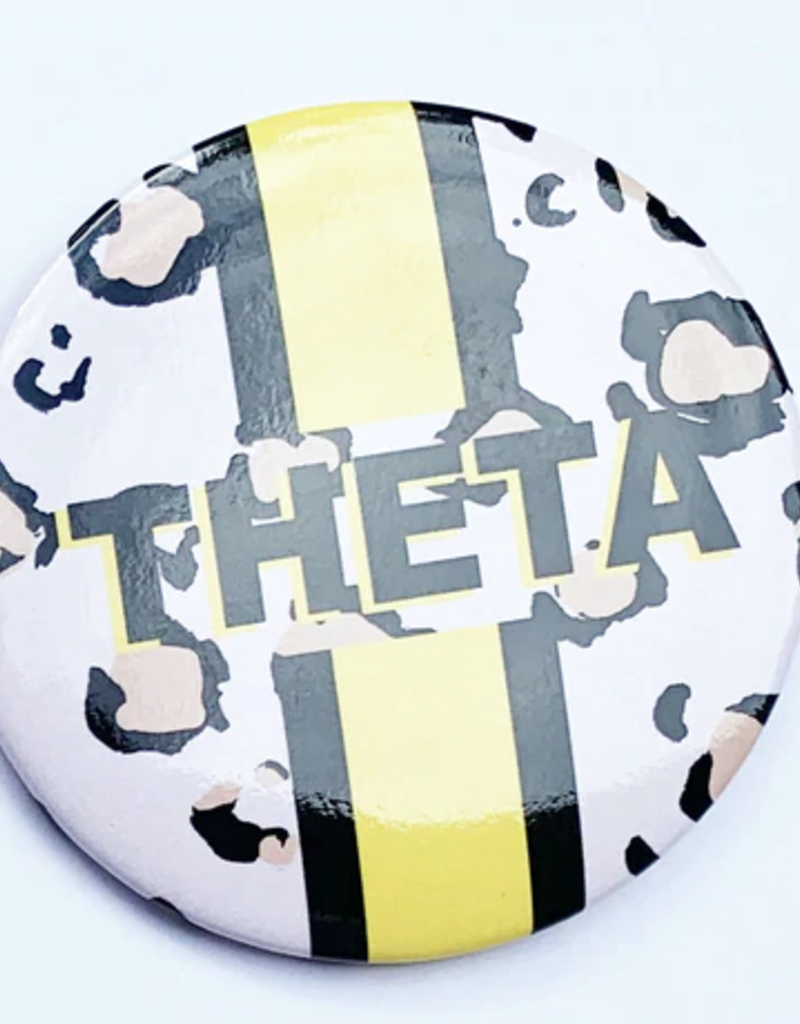 Over the Moon Kappa Alpha Theta Cheetah Button 3""