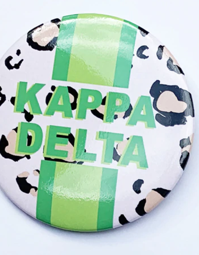 Over the Moon Kappa Delta Cheetah Button 3""