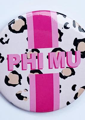 "Over the Moon Phi Mu Cheetah Button 3"""