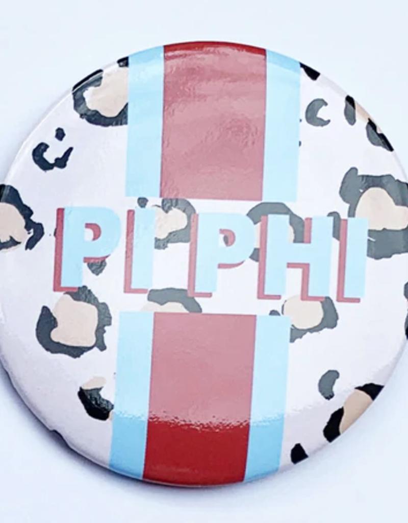 "Over the Moon Pi Beta Phi Cheetah Button 3"""