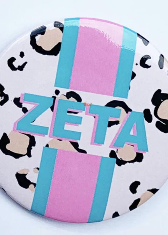 "Over the Moon Zeta Tau Alpha Cheetah Button 3"""