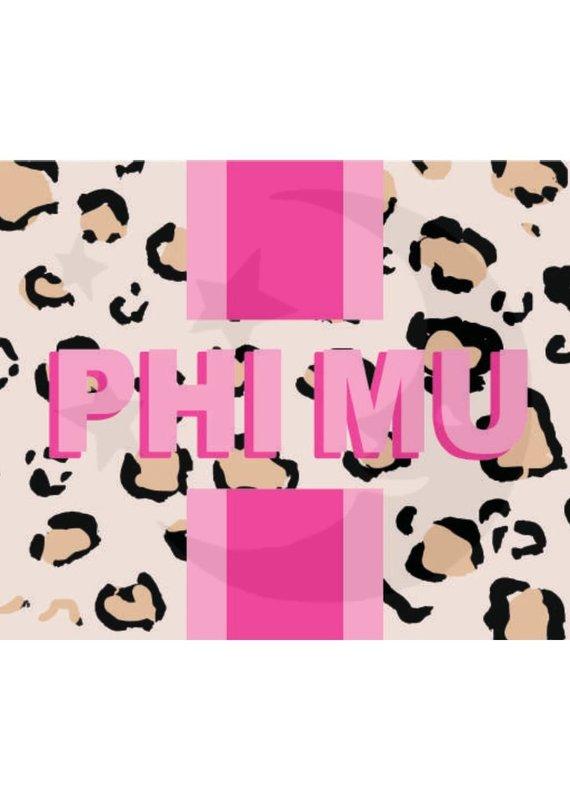 Over the Moon Phi Mu Cheetah Flag 3'X5'