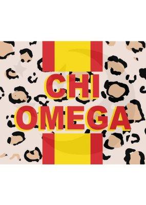 Over the Moon Chi Omega Cheetah Flag 3'X5'