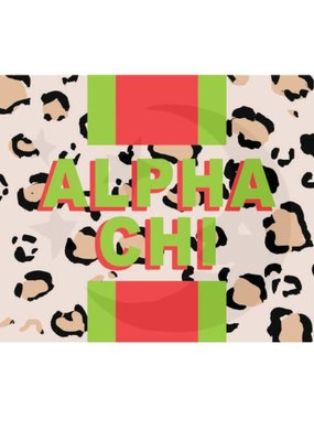 Over the Moon Alpha Chi Omega Cheetah Flag 3'X5'