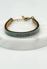 Laurel Denise Faith Over Fear Slate Leather Bracelet - Standard