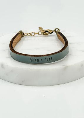 Laurel Denise Faith Over Fear Slate Leather Bracelet - Standard