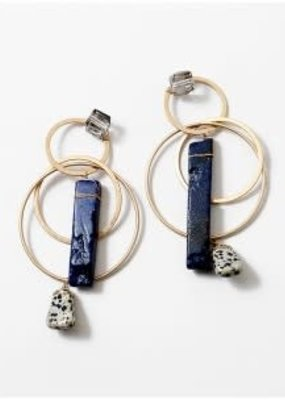 Geometric Statement Hoop Drops Gold/Lapis