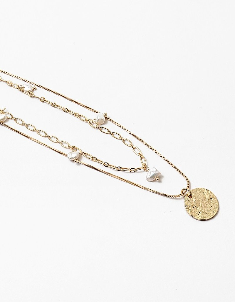 Buffalo Trading Co. Double Chain Pearl/Coin Necklace Gold