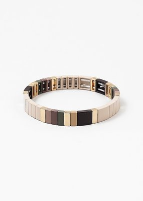 Colorblock Bracelet Beige/Gold
