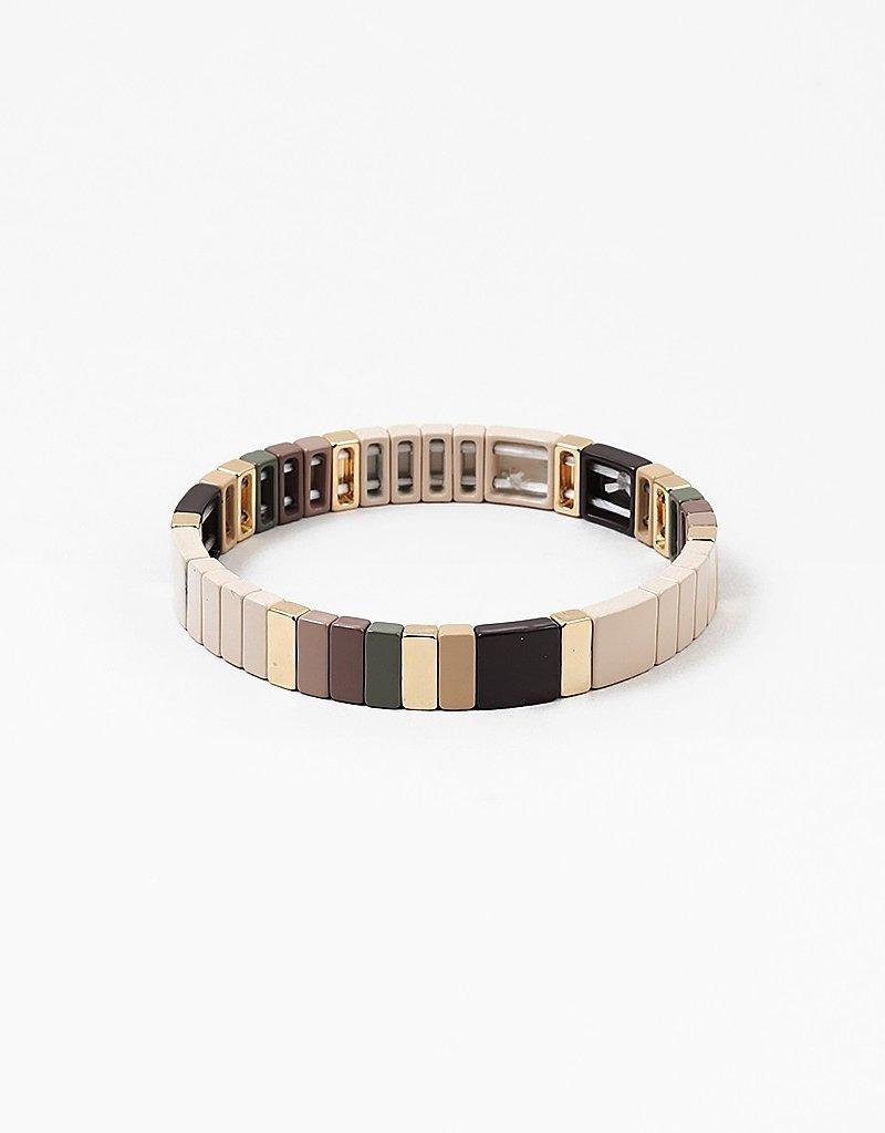 Colorblock Bracelet Beige/Gold