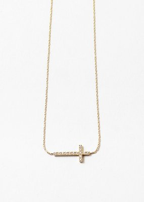 Crystal Cross Bar Necklace Gold