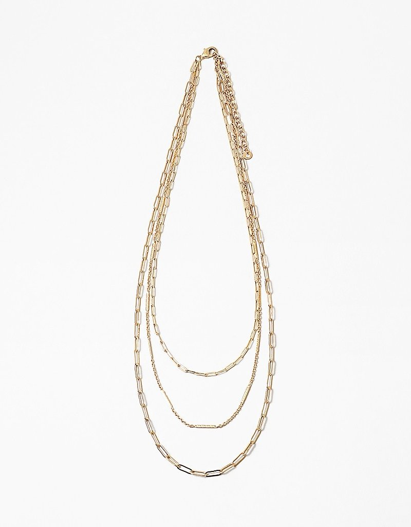 Multi Chain Paperclip Necklace Gold