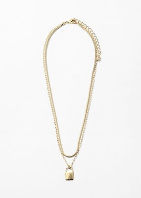 Multi Chain Necklace Lock Pendant Gold