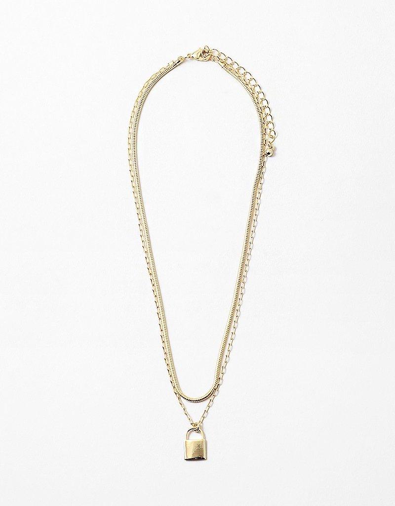 Multi Chain Necklace Lock Pendant Gold