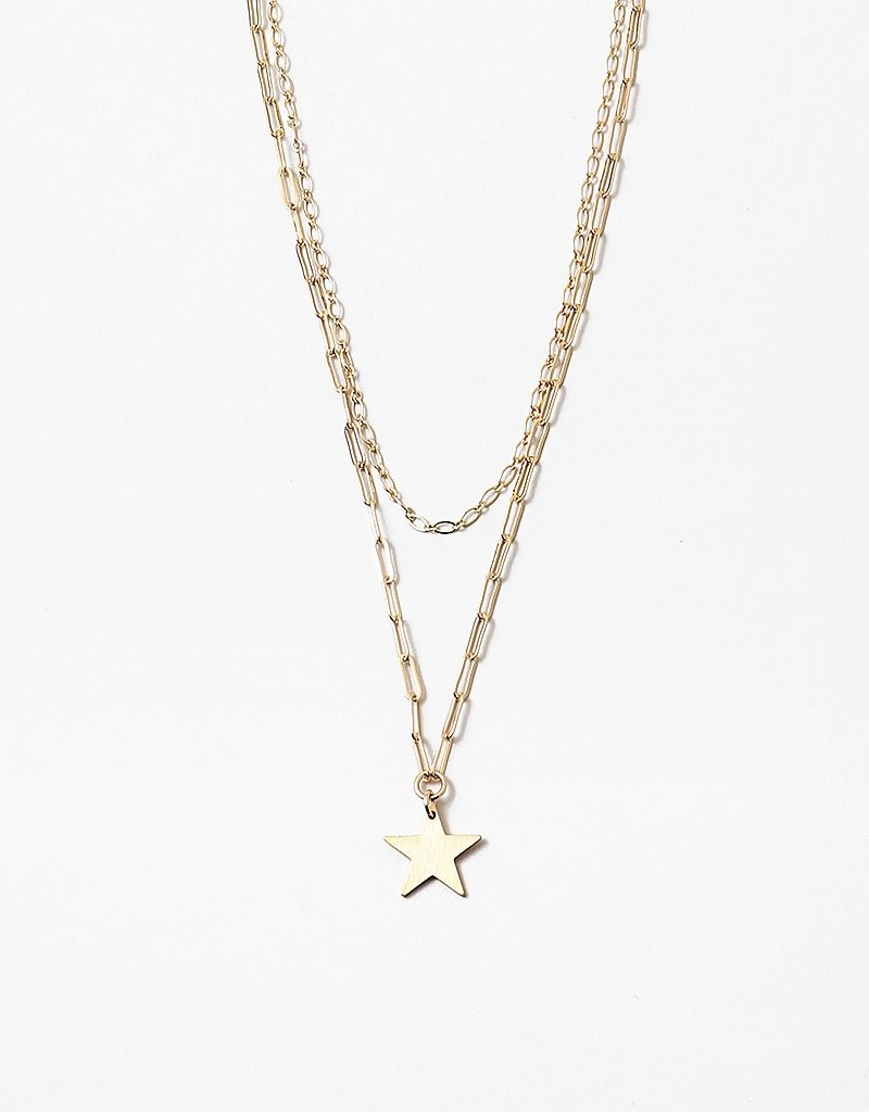 Star Pendant Paper Chain Layered Necklace Gold