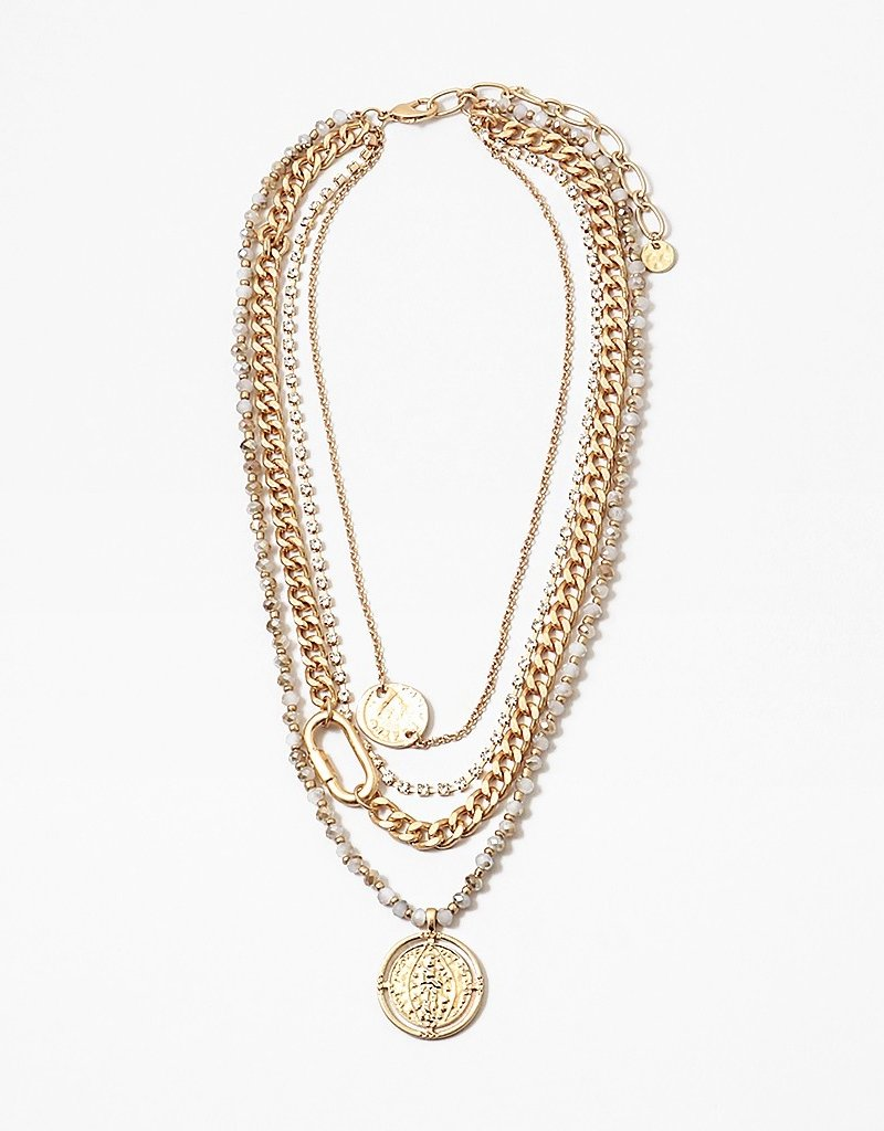 Multi Chain Coin Pendant Necklace Gold